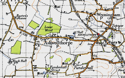 Old map of Ashwellthorpe in 1946