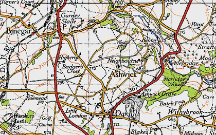 Old map of Ashwick in 1946