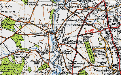 Old map of Ashwoodfield Ho in 1946