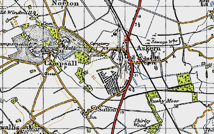 Old map of Askern in 1947