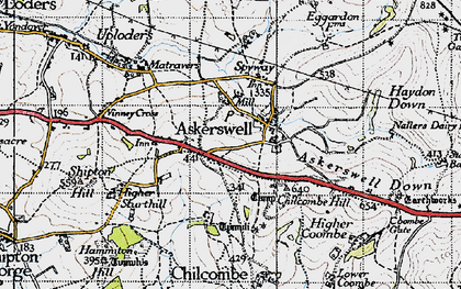 Old map of Askerswell Down in 1945