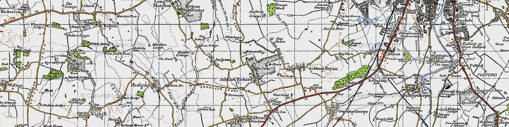 Old map of Askham Richard in 1947