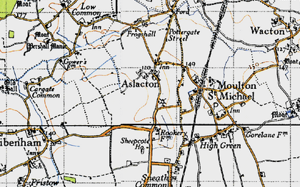 Old map of Aslacton in 1946