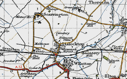 Old map of Aslockton in 1946