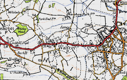 Old map of Asney in 1946