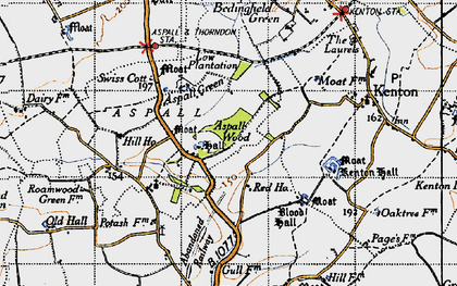 Old map of Aspall Ho in 1946