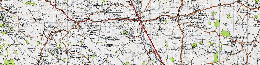 Old map of Aspenden in 1946