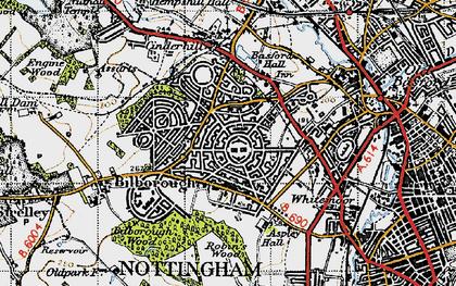 Old map of Aspley in 1946