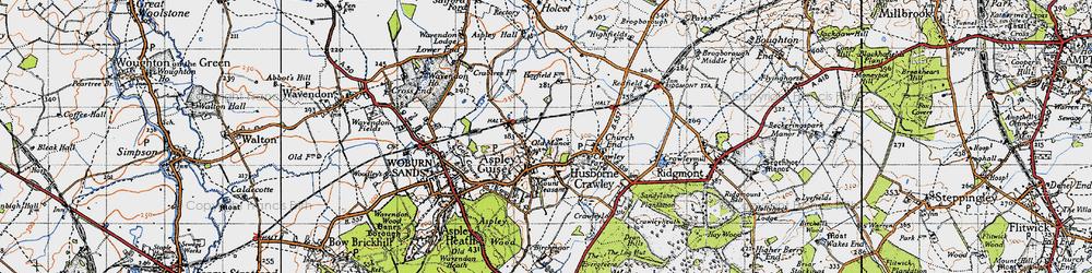 Old map of Aspley Guise in 1946