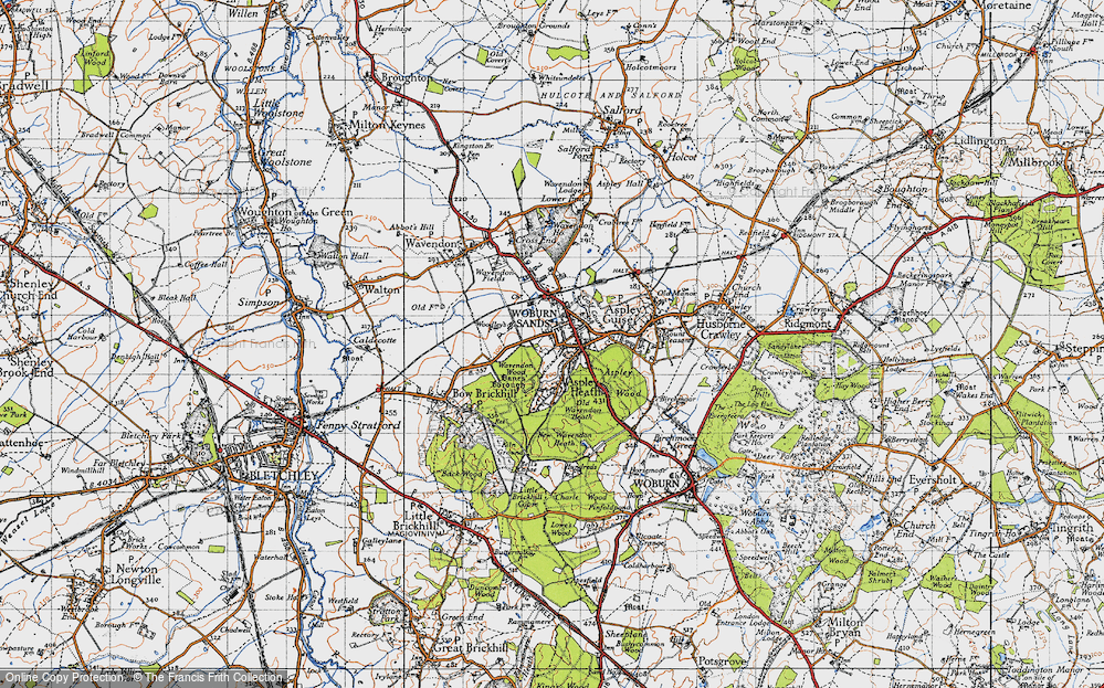 Old Map of Historic Map covering Aspley Wood in 1946