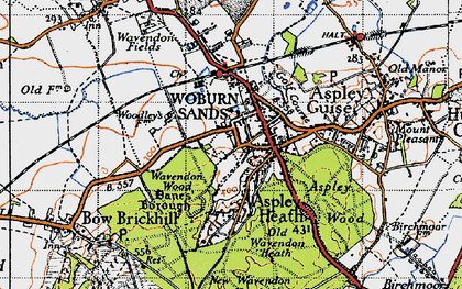 Old map of Aspley Heath in 1946