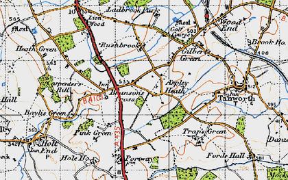 Old map of Aspley Heath in 1947