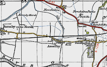 Old map of Asselby in 1947