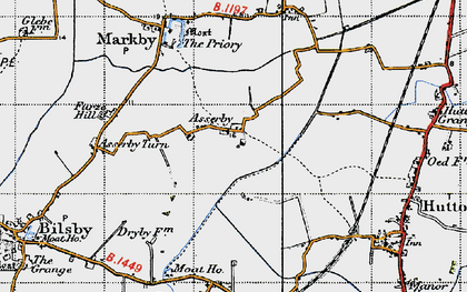 Old map of Asserby in 1946