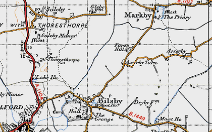 Old map of Asserby Turn in 1946