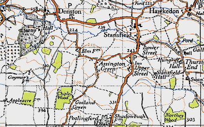 Old map of Assington Green in 1946