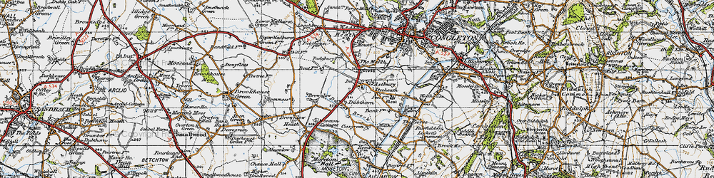 Old map of Astbury in 1947