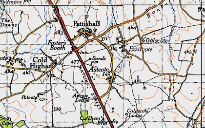 Old map of Astcote in 1946