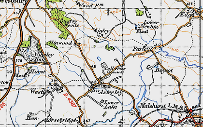 Old map of Asterley in 1947