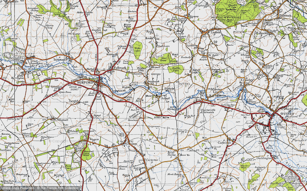 Old Map of Historic Map covering Asthall Barrow in 1946