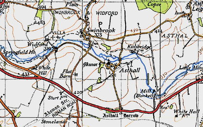 Old map of Asthall in 1946