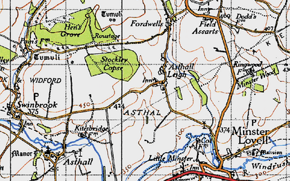 Old map of Asthall Leigh in 1946