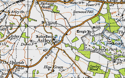 Old map of Astley Castle in 1946