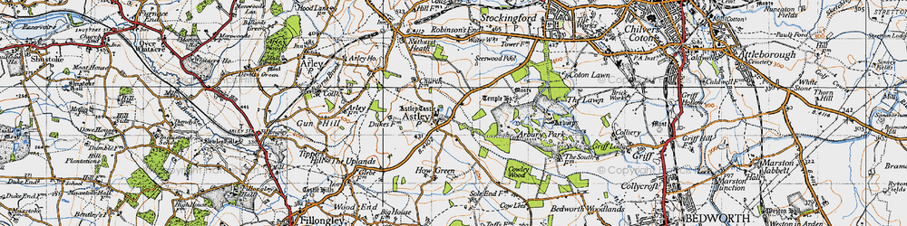 Old map of Astley in 1946