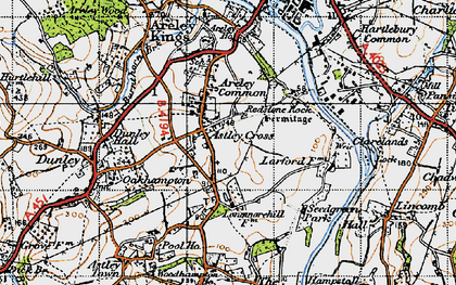Old map of Astley Cross in 1947