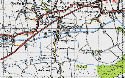 Old map of Astley Green in 1947