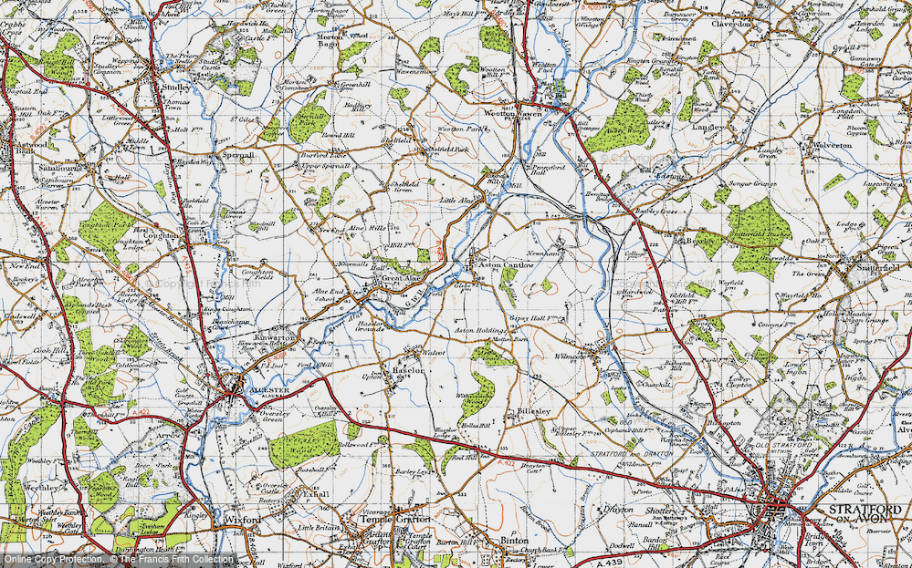 Old Map of Historic Map covering Aston Holdings in 1947