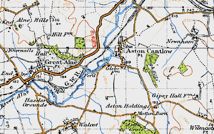 Old map of Aston Cantlow in 1947