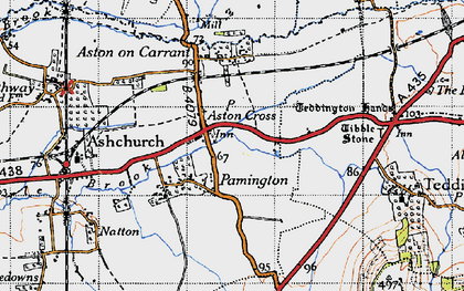 Old map of Aston Cross in 1946