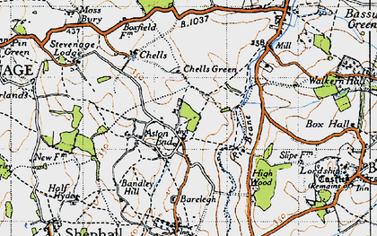 Old map of Aston End in 1946