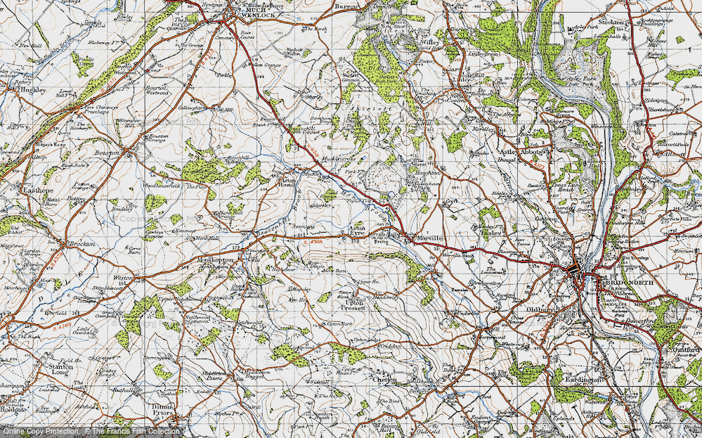 Old Map of Aston Eyre, 1947 in 1947