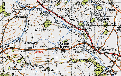 Old map of Aston Eyre in 1947