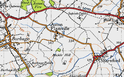Old map of Aston Flamville in 1946
