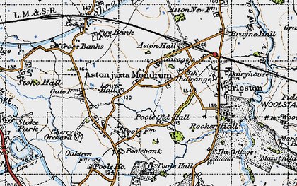 Old map of Aston juxta Mondrum in 1947