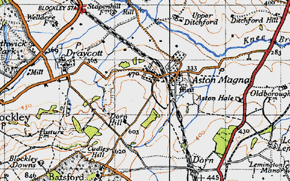 Old map of Aston Magna in 1946