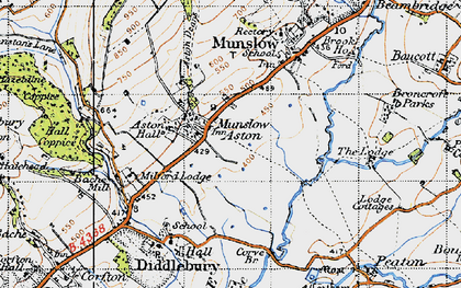 Old map of Aston Munslow in 1947