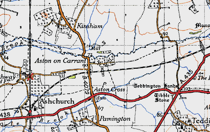 Old map of Aston on Carrant in 1946