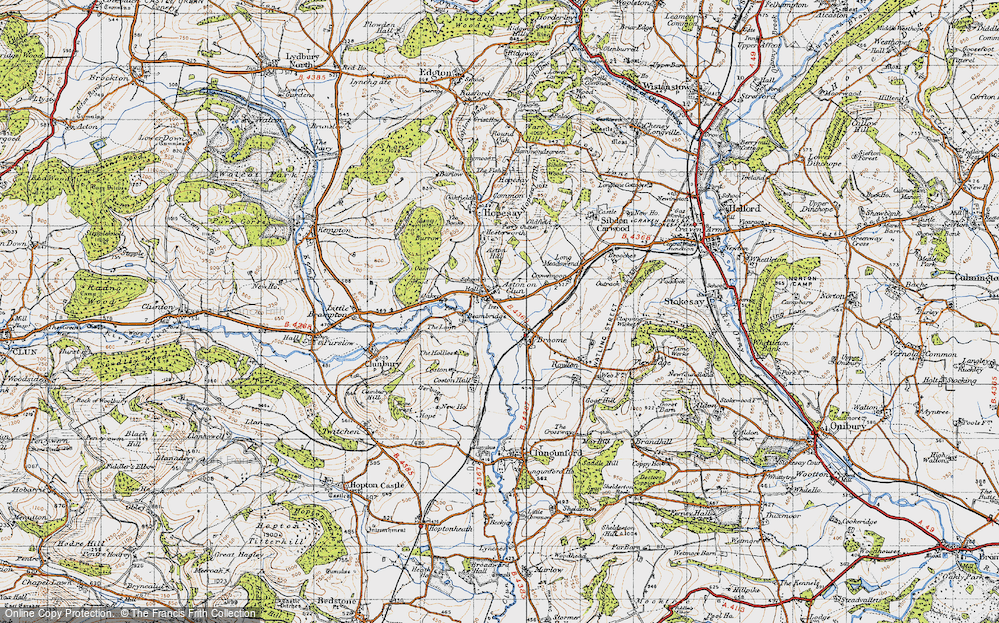 Old Map of Aston on Clun, 1947 in 1947