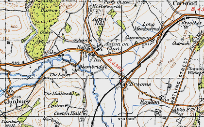 Old map of Aston on Clun in 1947