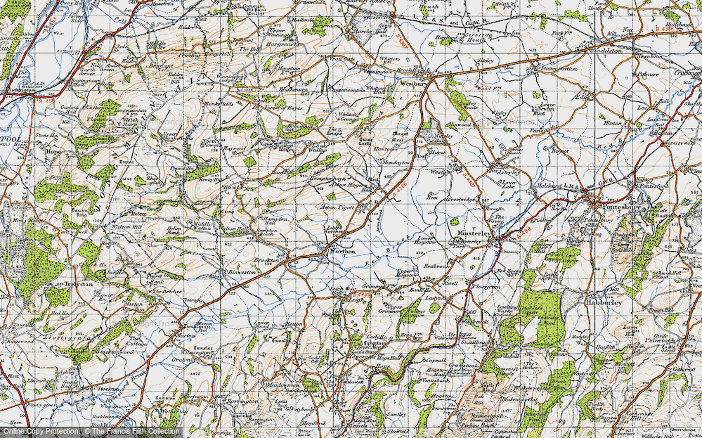 Old Map of Historic Map covering Aston Hill in 1947