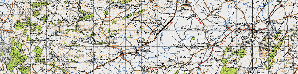 Old map of Aston Pigott in 1947
