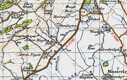 Old map of Aston Rogers in 1947