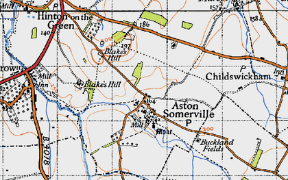 Old map of Aston Somerville in 1946