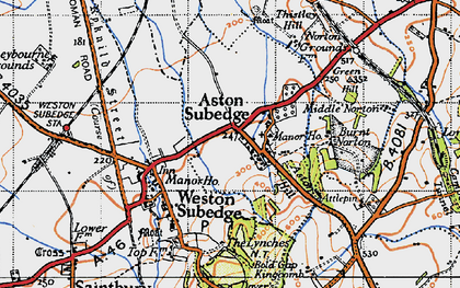 Old map of Aston Subedge in 1946