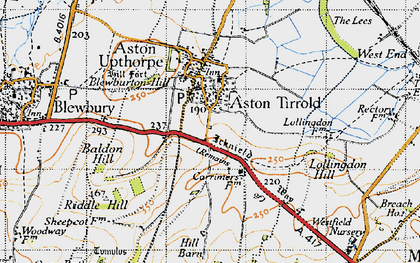 Old map of Aston Tirrold in 1947