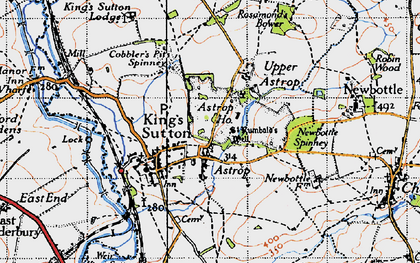 Old map of Astrop in 1946